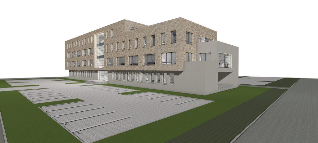Rendering einer Außenansicht des Green Office Building Osnabrpck