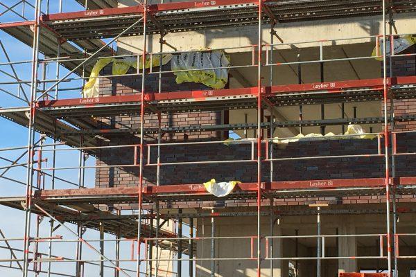 Die Klinkerarbeiten am Green Office Building Osnabrück starten